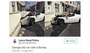 El accidente del Ferrari en el tuit de la policía