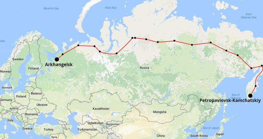 Mapa de la expedición por el Ártico