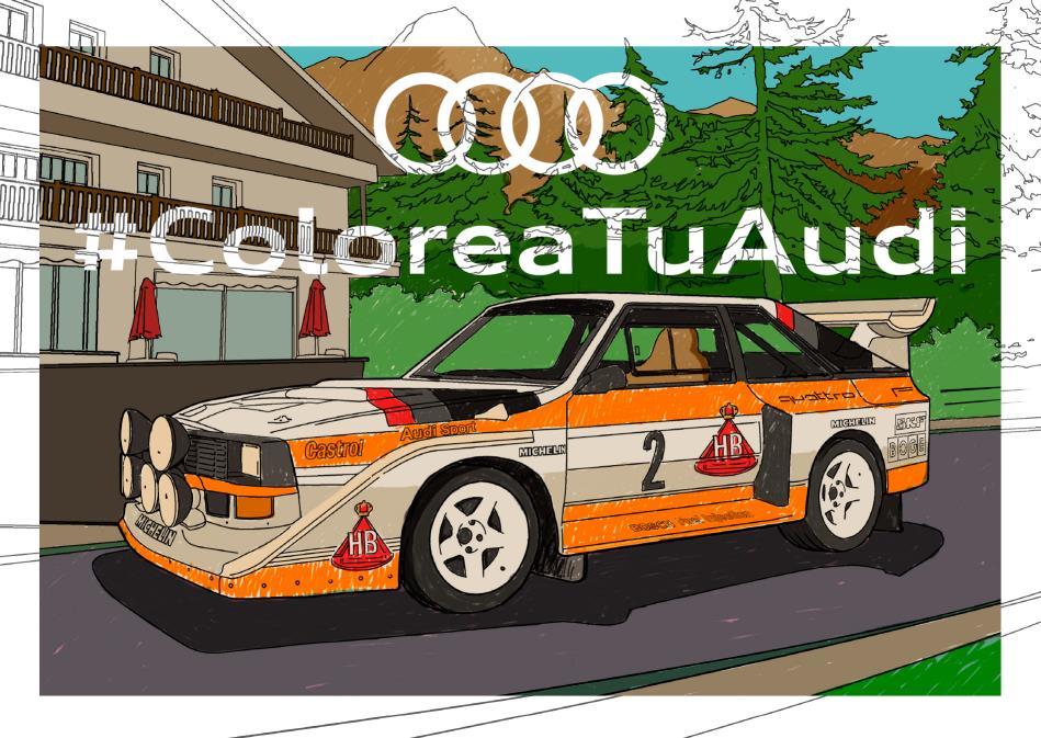Una de las ilustraciones coloreadas de Audi